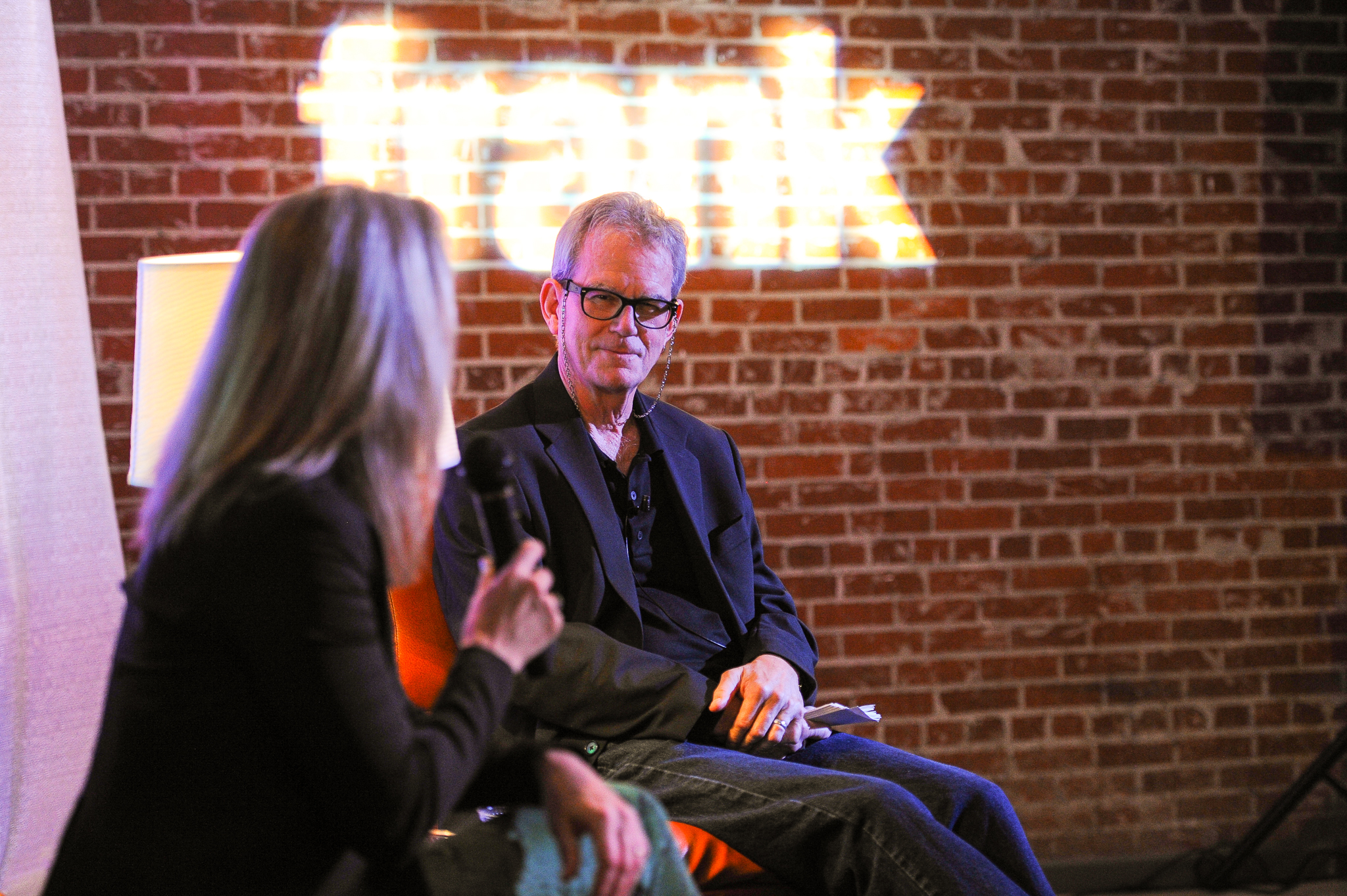 UF Professor Mike Foley and Orange Is The New Black's Piper Kerman at frank 2014.