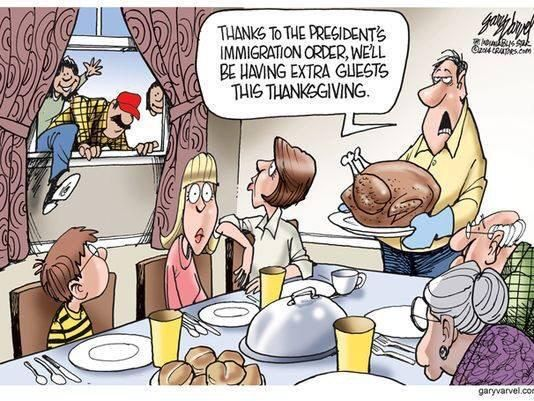 This tone-deaf cartoonist forgets that Thanksgiving is about immigration